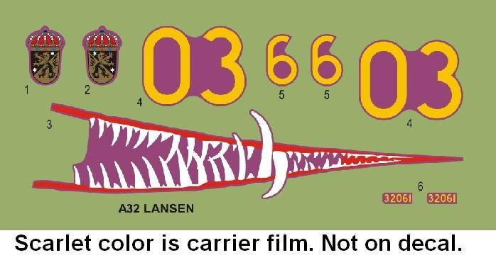 SAAB A32A Lansen Sharkmouth decals