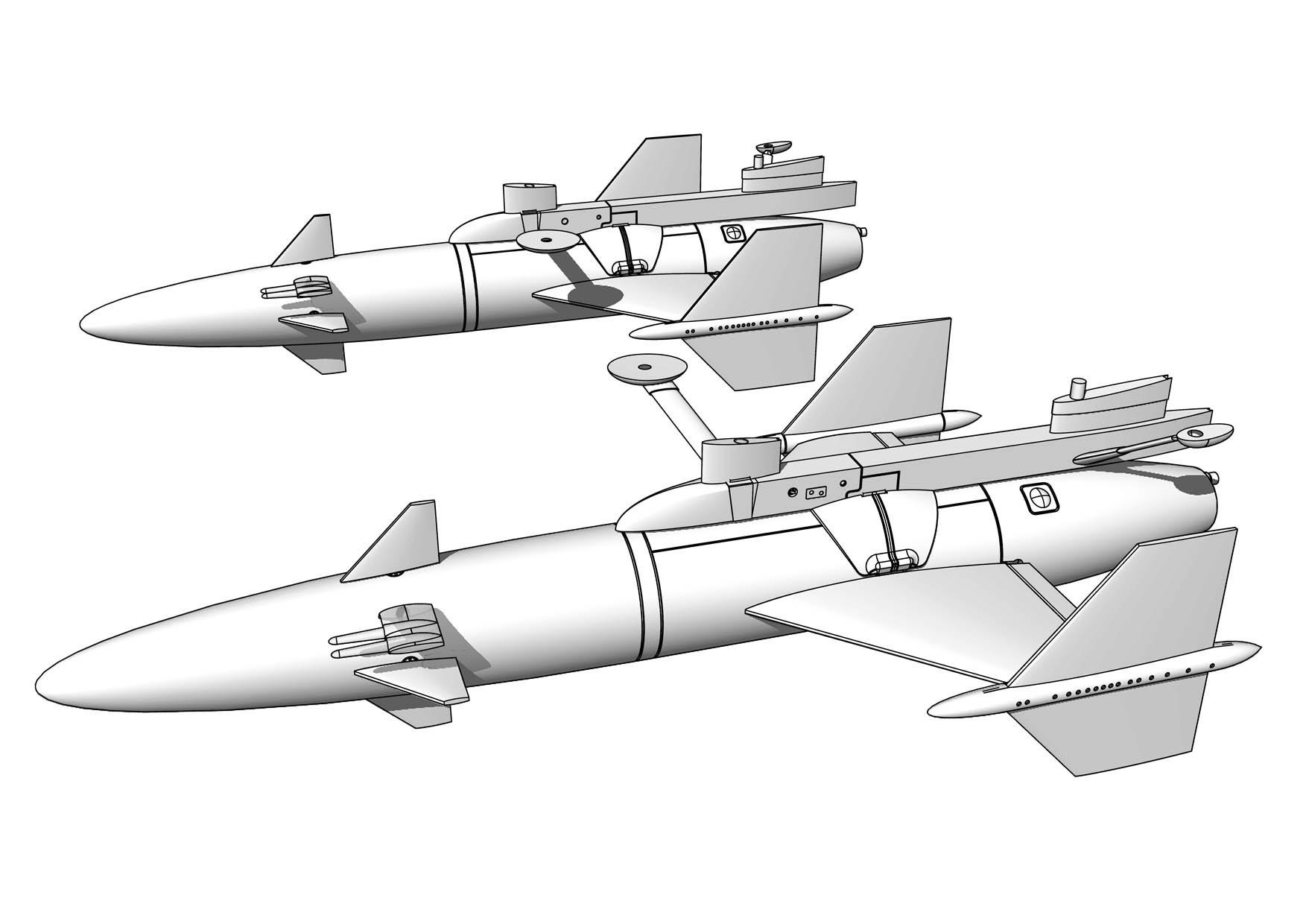 2 × Rb04C/D robot med lavett för SAAB A32 Lansen