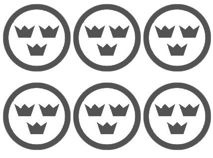SAAB JAS39 Gripen målningsmask för kronmärken x 6