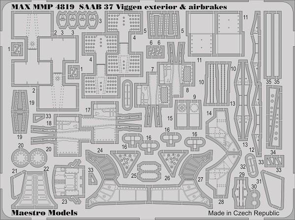 SAAB 37 Viggen 37 exterior & airbrakes set (TAR/SH)