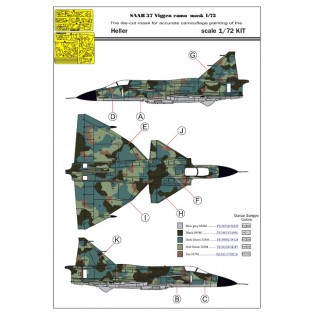 1/72 SAAB 37 Viggen 1-seater splinter camo paint mask HELLER 1/72